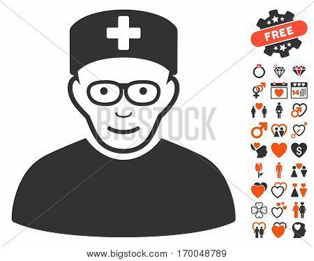 Medical Specialist pictograph with bonus valentine symbols. Vector illustration style is flat iconic symbols for web design app user interfaces.