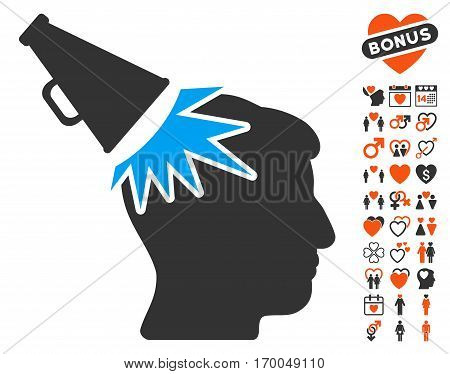 Megaphone Impact Head icon with bonus decorative pictures. Vector illustration style is flat iconic elements for web design app user interfaces.