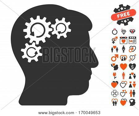 Mind Gear Rotation pictograph with bonus passion pictograms. Vector illustration style is flat iconic symbols for web design app user interfaces.