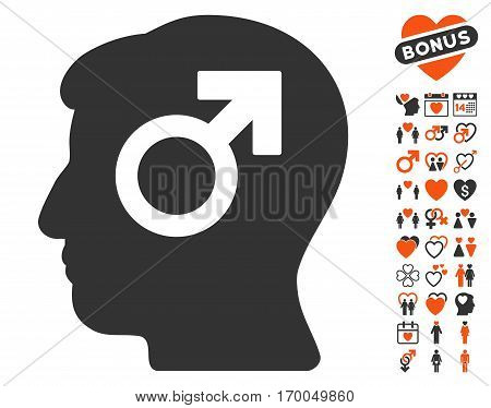 Mind Potency icon with bonus decoration images. Vector illustration style is flat iconic symbols for web design app user interfaces.