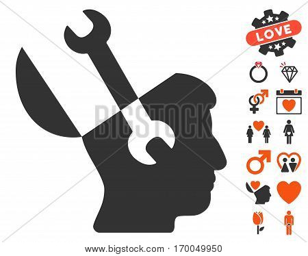 Mind Wrench Tools pictograph with bonus romantic design elements. Vector illustration style is flat iconic symbols for web design app user interfaces.