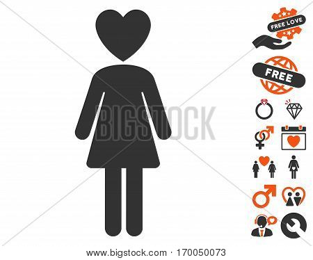 Mistress icon with bonus passion symbols. Vector illustration style is flat iconic symbols for web design app user interfaces.