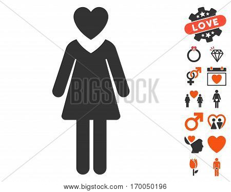 Mistress pictograph with bonus lovely graphic icons. Vector illustration style is flat iconic elements for web design app user interfaces.