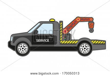 Evacuator and tow service. Icon of truck for help transportation car. vehicle rescue and assistance for auto. Vector flat style illustration isolated on white background.