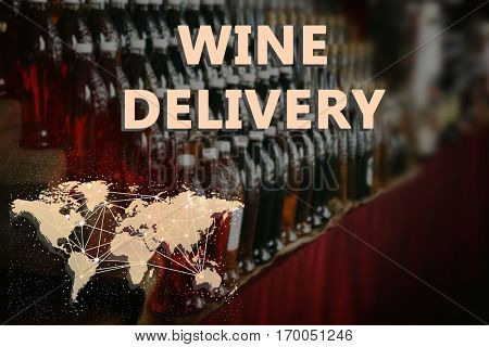 Rows of bottles with different wine. Text WINE DELIVERY on background