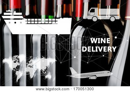 Wine bottles, closeup. Text WINE DELIVERY and vehicle icons on background