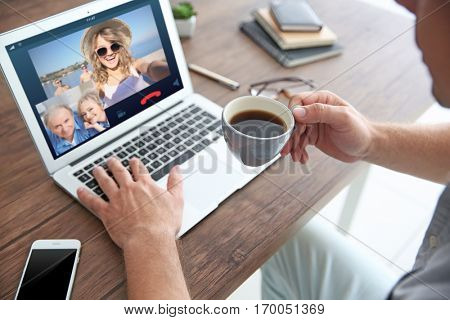 Video call and chat concept. Man video conferencing on laptop