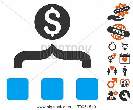 Money Aggregator icon with bonus passion symbols. Vector illustration style is flat iconic elements for web design app user interfaces.