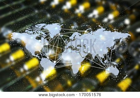 World map on blurred wine bottles background. Delivery concept