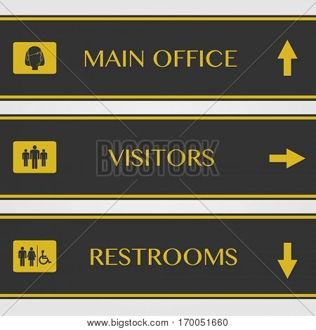 Office and restroom signs illustration on a white background