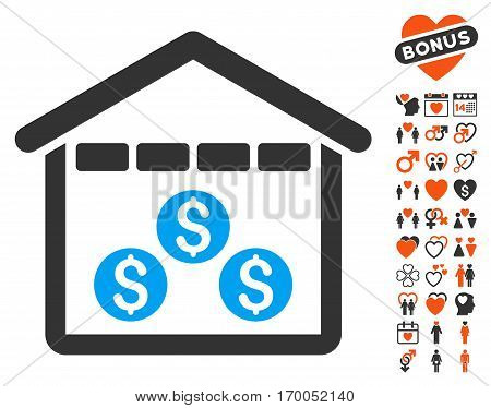 Money Depository icon with bonus marriage graphic icons. Vector illustration style is flat iconic symbols for web design app user interfaces.