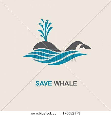 Design with abstract symbol of whale and sea wave. Vector illustration