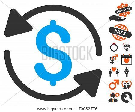Money Turnover pictograph with bonus passion icon set. Vector illustration style is flat iconic elements for web design app user interfaces.