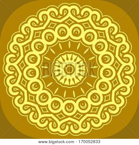 Yellow round ornamental background with decorative snowflakes. Gold Xmas napkin design in flat and simple style