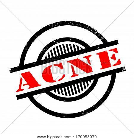Acne rubber stamp. Grunge design with dust scratches. Effects can be easily removed for a clean, crisp look. Color is easily changed.