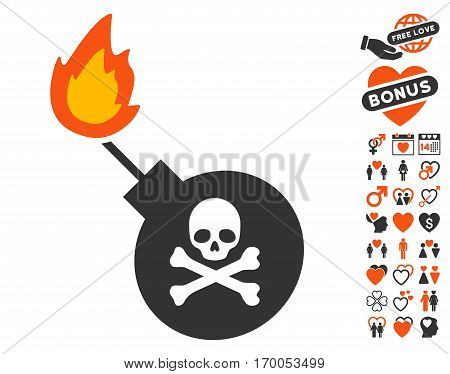 Mortal Bomb pictograph with bonus love pictograms. Vector illustration style is flat iconic symbols for web design app user interfaces.