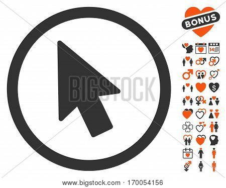 Mouse Pointer pictograph with bonus amour design elements. Vector illustration style is flat iconic elements for web design app user interfaces.