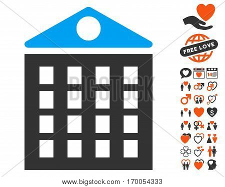 Multi-Storey House pictograph with bonus love graphic icons. Vector illustration style is flat iconic elements for web design app user interfaces.
