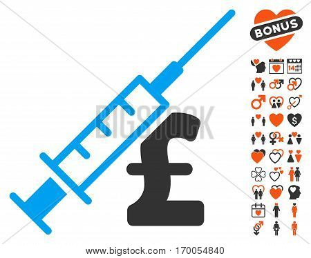 Narcotic Pound Business pictograph with bonus valentine icon set. Vector illustration style is flat iconic elements for web design app user interfaces.