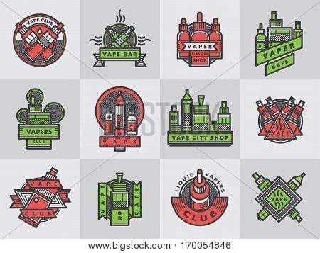 Set of vaping e-cigarette emblems, labels, prints and logos. Vector vintage electronic nicotine cigarette illustration. Vaporizer device shop design isolated.