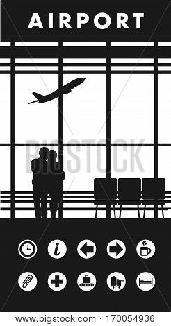 vector illustration of the airport building waiting room large picture window people silhouettes mourners vertical poster an information board with icons and text Black and white