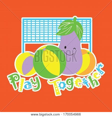 Vector cartoon of cute eggplant is playing volley ball suitable for kid t-shirt cartoon, postcard, and scrap book