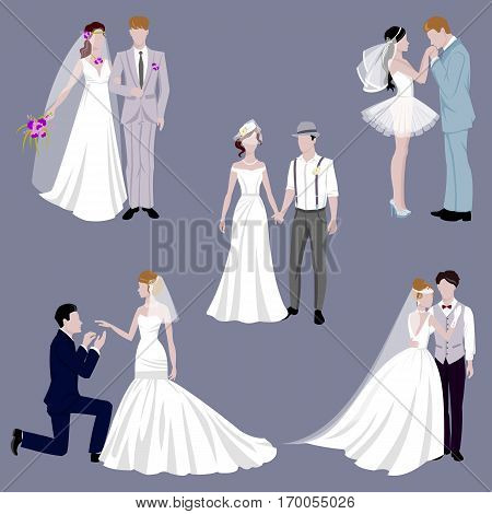Wedding couple indoors is hugging each other vector. Beautiful model girl in white dress. Man in suit. Beauty bride with groom. Female and male. Woman with lace veil. Cute lady and handsome guy.