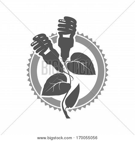 Vector illustration of a template for a business or company sign on environmental issues green energy in two colors black and white