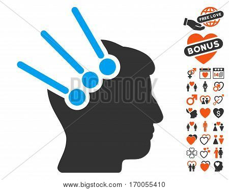 Neural Interface Connectors pictograph with bonus dating images. Vector illustration style is flat iconic elements for web design app user interfaces.