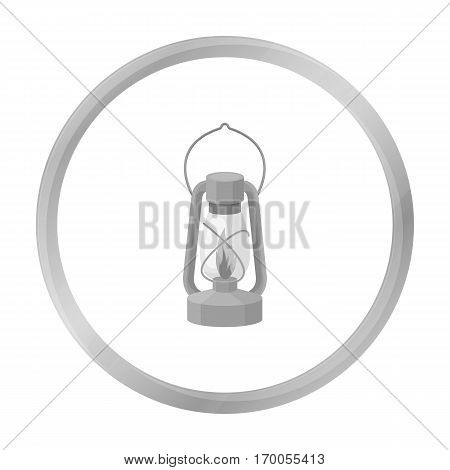 Kerosene lamp icon in monochrome style isolated on white background. Light source symbol vector illustration