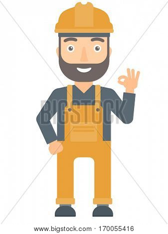 Caucasian smiling male builder showing ok sign. Young builder in helmet making ok sign. Smiling builder in hard hat gesturing ok sign. Vector flat design illustration isolated on white background.