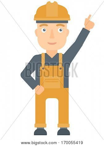 Caucasian worker in hard hat pointing up with finger and having an idea. Worker in helmet showing up by finger and indicating at something. Vector flat design illustration isolated on white background