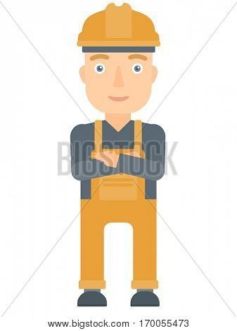 Caucasian young builder standing with arms crossed. Confident builder in hard hat. Cheerful builder in overalls standing with folded arms. Vector flat design illustration isolated on white background.