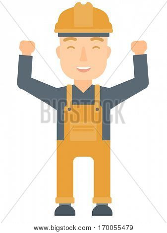 Caucasian male engineer standing with raised arms up. Engineer holding his arms up. Successful engineer standing with outstretched arms. Vector flat design illustration isolated on white background.
