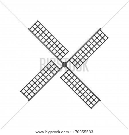 Wooden windmill in black design on white background