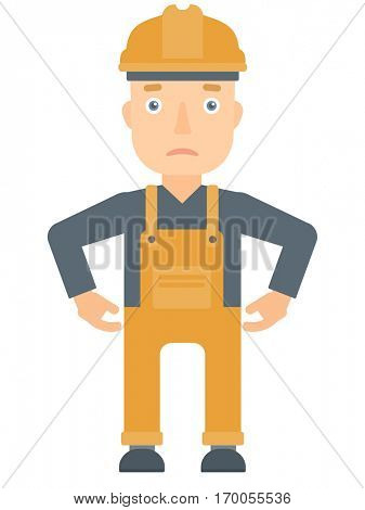 Depressed caucasian builder in hard hat and overalls. Sad builder standing with his hands on hips. Young builder having depression. Vector flat design illustration isolated on white background.