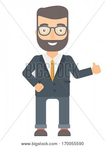 Young caucasian businessman giving thumb up. Smiling businessman with thumb up. Cheerful hipster businessman with beard showing thumb up. Vector flat design illustration isolated on white background.