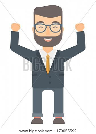 Successful caucasian businessman standing with raised arms up. Hipster businessman celebrating business success. Business success concept. Vector flat design illustration isolated on white background.