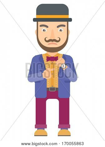 Angry caucasian circus performer pointing at wrist watch. Annoyed hipster circus performer with the beard pointing at watches and time. Vector flat design illustration isolated on white background.