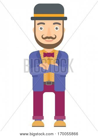 Caucasian circus performer standing with arms crossed. Circus performer with folded arms. Circus performer standing with folded arms. Vector flat design illustration isolated on white background.