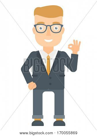 Caucasian smiling businessman showing ok sign. Young cheerful businessman making ok sign. Successful happy businessman gesturing ok sign. Vector flat design illustration isolated on white background.