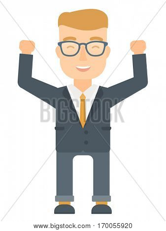 Successful caucasian businessman standing with raised arms up. Young businessman celebrating business success. Business success concept. Vector flat design illustration isolated on white background.