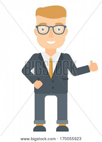 Young happy caucasian businessman in suit giving thumb up. Smiling businessman with thumb up. Cheerful businessman showing thumb up. Vector flat design illustration isolated on white background.