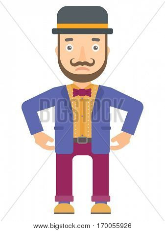 Depressed caucasian circus artist. Sad circus artist standing with his hands on hips. Circus artist looking upset and having depression. Vector flat design illustration isolated on white background.