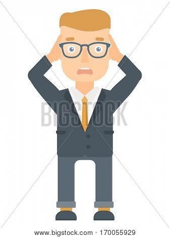 Stressed office worker. Overworked businessman feeling stress from work. Stressful employee clutching his head. Stress at work concept. Vector flat design illustration isolated on white background.