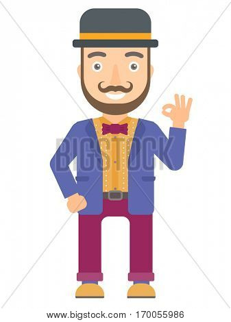 Caucasian smiling circus performer showing ok sign. Cheerful circus performer making ok sign. Happy circus performer gesturing ok sign. Vector flat design illustration isolated on white background.