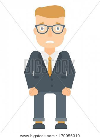 Caucasian businessman feeling embarrassment. Full length of embarrassed young businessman. Young businessman expressing embarrassment. Vector flat design illustration isolated on white background.