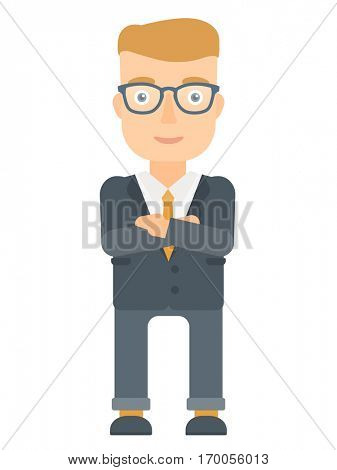 Caucasian businessman standing with arms crossed. Confident businessman with folded arms. Cheerful businessman standing with folded arms. Vector flat design illustration isolated on white background.