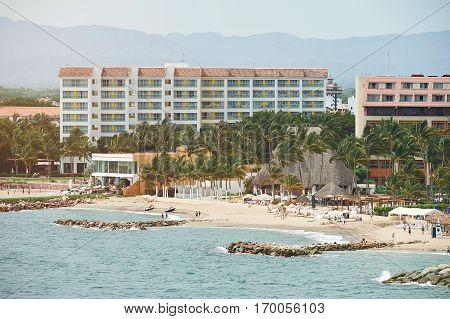 Puerta vallarta coastline in day time. People on vacation in Mexico Puerta Vallarta