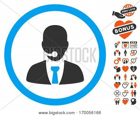 Call Center Operator pictograph with bonus marriage pictures. Vector illustration style is flat iconic elements for web design app user interfaces.